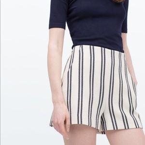Zara High Waist Striped Shorts